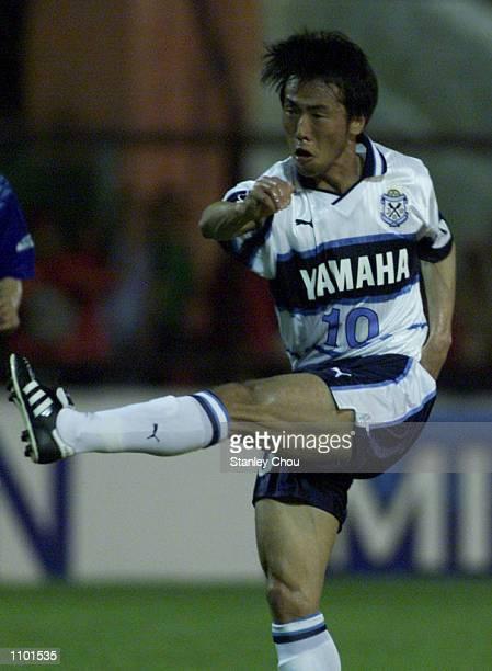 Toshiya Fujita of Jubilo Iwata Japan unleashes a powerful shot to score during the Asian Club Championship East Asia zone quarter finals match...