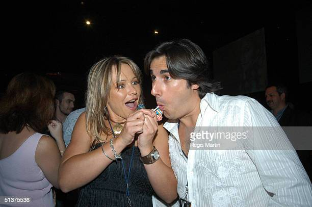 13 March 2004 CARLA BONNER and NICK GIANNOPOULOS at the after party of Fashion Rocks at the Heat Nightclub in the Crown Casino complex Melbourne...
