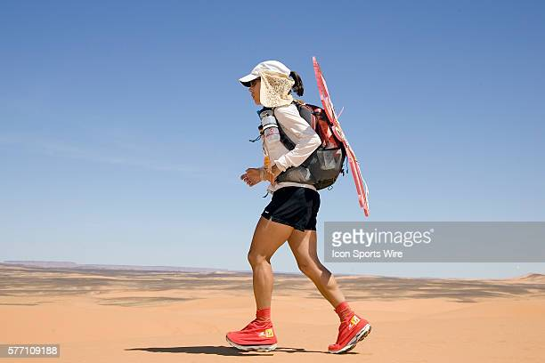 Lia Farley of USA runs in erg Znaigui en route to check point 3 during fifth stage of the 22nd Marathon des Sables between west of Kfiroun and erg...