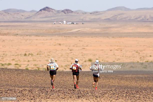 Nine times winner of the men race Lahcen Ahansal of Morocco his brother Muhammad Ahansal of Morocco and Aziz El Akad of Morocco run in erg Znaigui en...