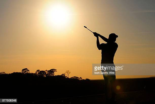 Manuel Villegas seen in silhouette during the first round of the Amelia Island Plantation NGA Classic on the Amelia Island Plantation Oak Marsh Golf...