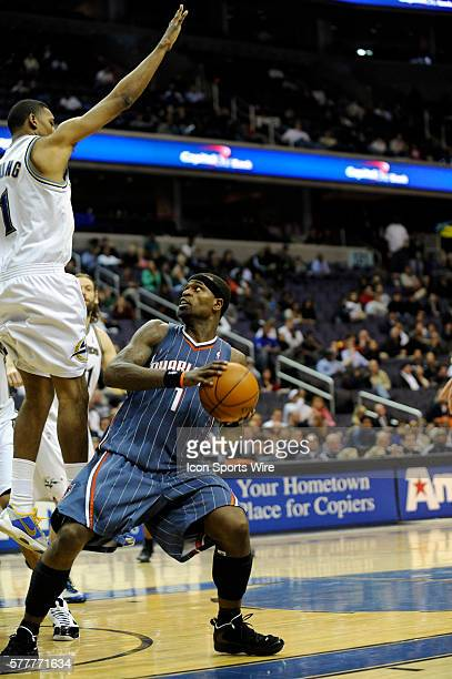 Charlotte Bobcats guard Stephen Jackson in action against Washington Wizards center JaVale McGee at the Verizon Center in Washington DC The Bobcats...