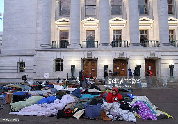 Protestors sleep out overnight on the state capitol steps to protest Wisconsin Governor Scott Walker's budget repair bill in Madison Wisconsin