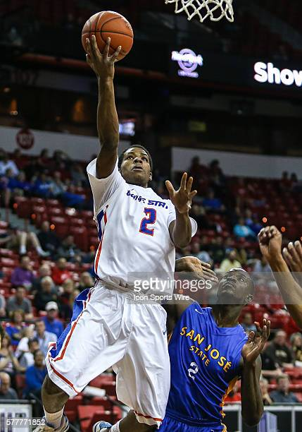 Boise State Broncos guard Derrick Marks goes up for a shot in front of San Jose State Spartans forward Jaleel Williams to the basket during the game...