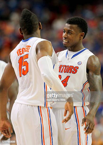 Florida Gators forward Will Yeguete and forward Casey Prather celebrate the victory in the Florida Gators 5649 victory over the Tennessee Volunteers...