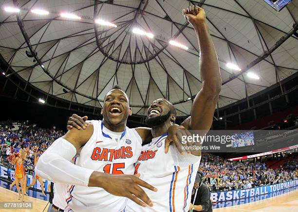 Florida Gators forward Will Yeguete celebrates with center Patric Young in the Florida Gators 6160 victory over the Kentucky Wildcats in the SEC...