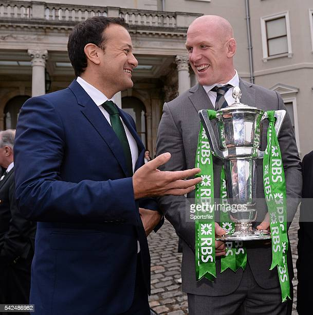 26 March 2014 Ireland captain Paul O'Connell with Leo Varadkar TD Minister for Transport Tourism and Sport at a Government reception to formally...