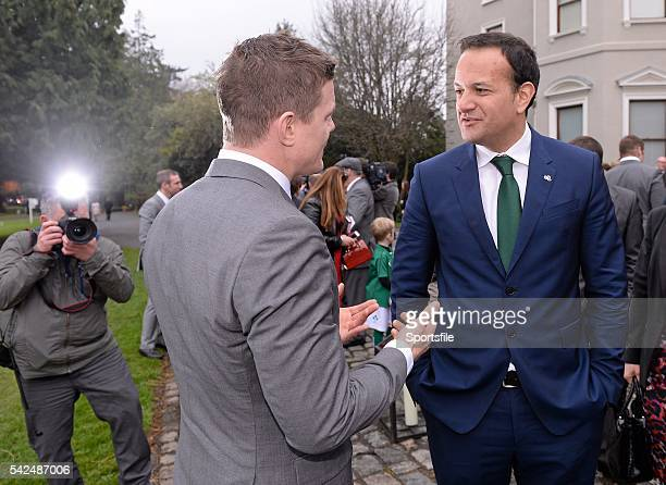 26 March 2014 Leo Varadkar TD Minister for Transport Tourism and Sport speaking with Brian O'Driscoll at a Government reception to formally honour...