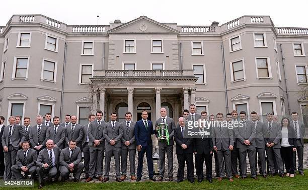 26 March 2014 Members of the victorious Ireland Six Nations squad with Leo Varadkar TD Minister for Transport Tourism and Sport and Michael Ring...