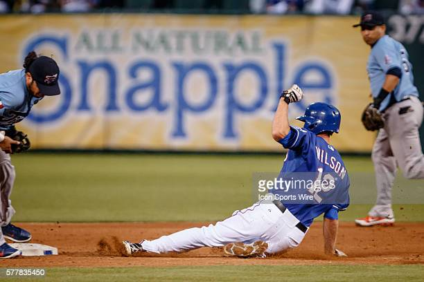 Texas Rangers shortstop Josh Wilson steals 2nd base during the MLB spring training game between the Texas Rangers and Tigres de Quintana Roo at the...