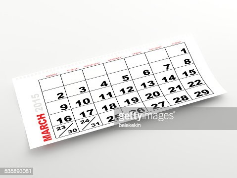 March 2015 calendar : Stock Photo