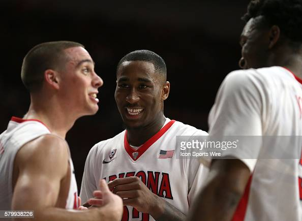 Left to right Arizona Wildcats guard TJ McConnell forward Rondae HollisJefferson and forward Stanley Johnson joke around during the second half of...