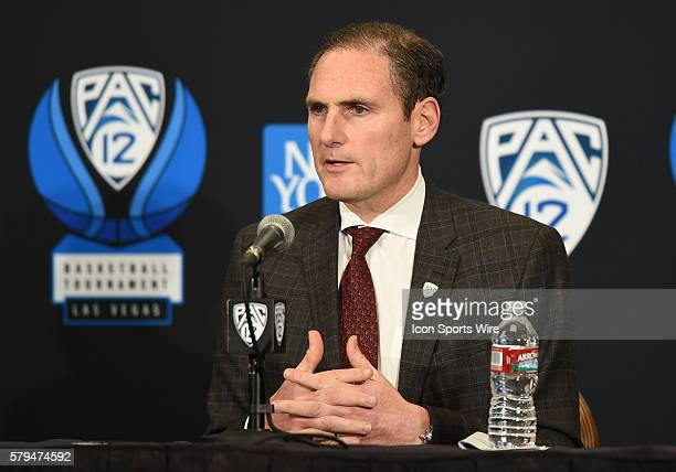 Pac12 Conference Commissioner Larry Scott addresses the media regarding a 1 year contract extension to continue to play the Pac12 Men's Basketball...