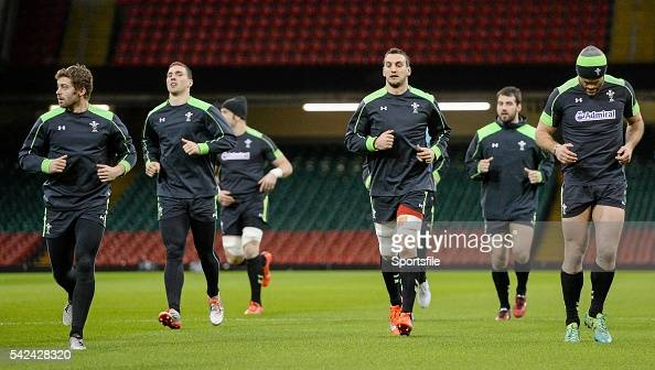 13 March 2015 Wales players from left Leigh Halfpenny George North Sam Warburton and Jamie Roberts during their captain's run ahead of their RBS Six...