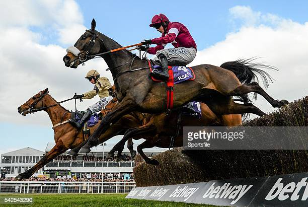 16 March 2016 Blaklion hidden with Ryan Hatch up jumps the the last alongside Shaneshill left with Paul Townend up who finished second and No More...