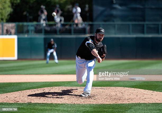Chicago White Sox pitcher Zach Putnam during the spring training baseball game between the Los Angeles Dodgers and the White Sox at Camelback Ranch...