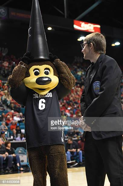 Colorado mascot Chip plays with a megaphone during the men's Pac12 Basketball Tournament game between the Colorado Buffaloes and the Arizona Wildcats...
