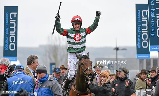 18 March 2016 Jockey Noel Fehily celebrates as he enters the winners' enclosure after winning the Albert Bartlett Novices' Hurdle on...