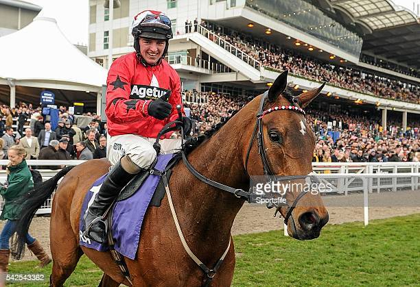 16 March 2016 Jockey Ryan Hatch celebrates after winning the RSA Steeple Chase on Blaklion Prestbury Park Cheltenham Gloucestershire England Picture...