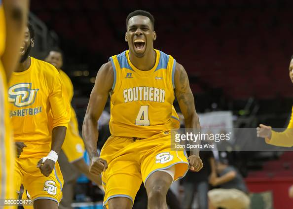 Southern Jaguars guard Chris Thomas cheers in celebration of this team's win during the SWAC Men's basketball tournament championship game between...