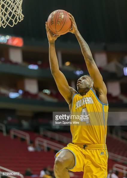 Southern Jaguars guard Chris Thomas goes up for a shot during the SWAC Men's basketball tournament game between the Southern University Jaguars and...