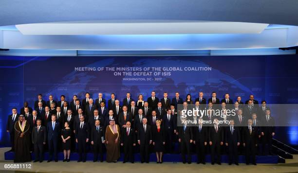 WASHINGTON March 22 2017 Delegates to the Meeting of the Ministers of the Global Coalition on the Defeat of IS pose for a family photo at the State...