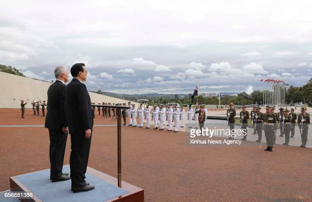 CANBERRA March 23 2017 Chinese Premier Li Keqiang attends a welcome ceremony held by Australian Prime Minister Malcolm Turnbull before their talks in...