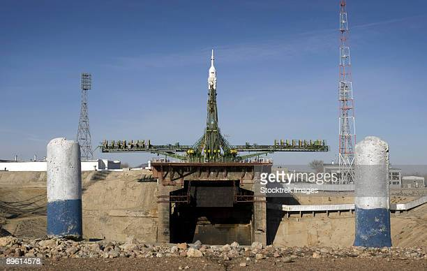March 24, 2009 - The Soyuz rocket is erected into position at the launch pad at the Baikonur Cosmodrome in Kazakhstan.