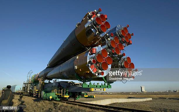 March 24, 2009 - The Soyuz rocket is rolled out to the launch pad at the Baikonur Cosmodrome in Kazakhstan.