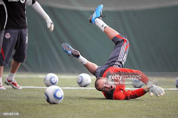 March 24 2010 Toronto FC net minder Stefan Frei making spectacular saves on the practice field at Lamport Stadium on 1151 King St West Toronto...