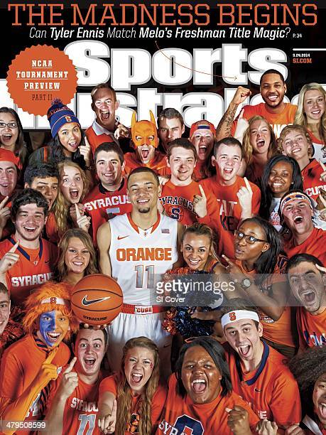 College Basketball NCAA Tournament Preview Portrait of Syracuse guard Tyler Ennis during photo shoot with student section at Manley Field House...