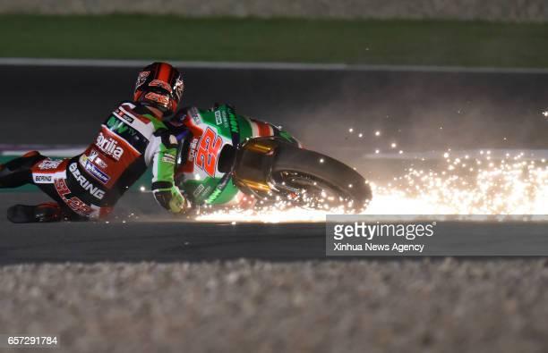DOHA March 24 2017 British MotoGP rider Sam Lowes of Aprilia Racing Team Gresiniis falls down during 2017 MotoGP Grand Prix of Qatar Free Practice 1...