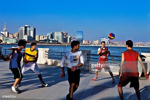 March 24 Baku Boulevard Baku Azerbaijan Basketball players near Bakus seafront The newly constructed Port Baku Tower can be seen in the distanceThe...