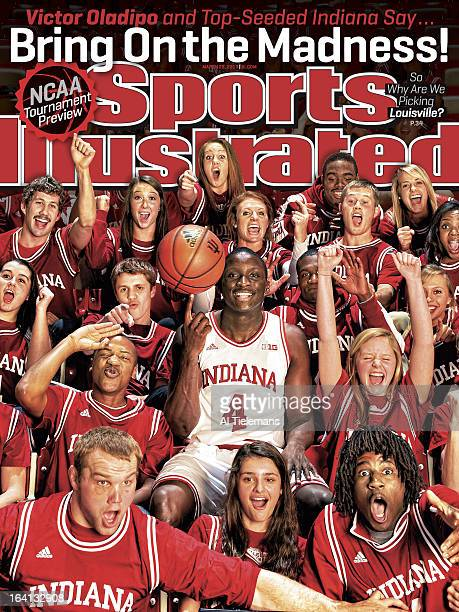 College Basketball NCAA Tournament Preview Portrait of Indiana point guard Victor Oladipo during photo shoot with student section at Assembly Hall...