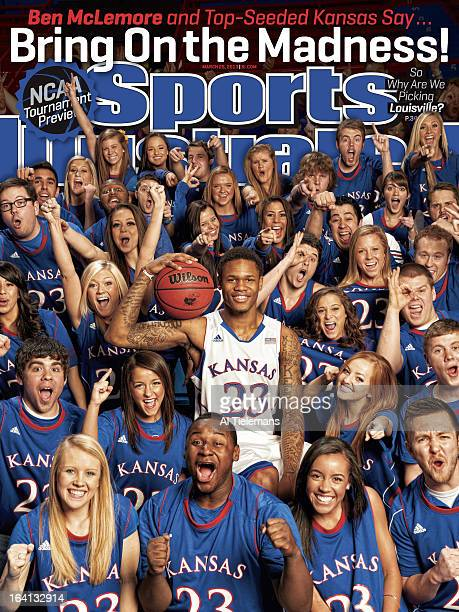 College Basketball NCAA Tournament Preview Portrait of Kansas guard Ben McLemore during photo shoot with student section at Allen Fieldhouse Lawrence...