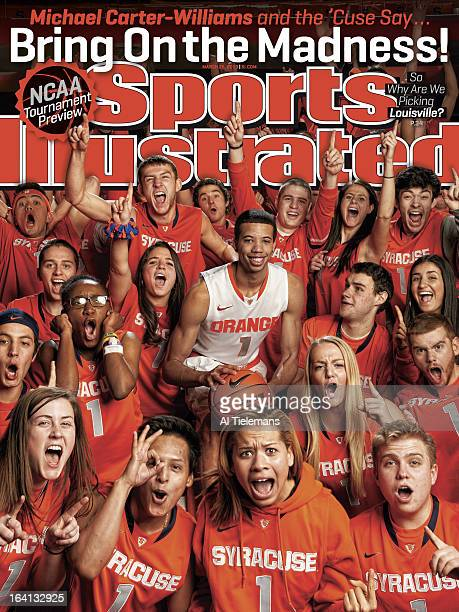College Basketball NCAA Tournament Preview Portrait of Syracuse Michael CarterWilliams during photo shoot with student section at Carrier Dome...