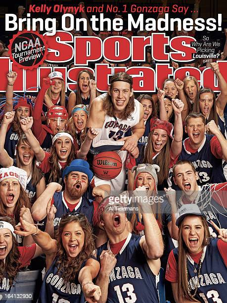 College Basketball NCAA Tournament Preview Portrait of Gonzaga forward Kelly Olynyk during photo shoot with student section at McCarthey Athletic...