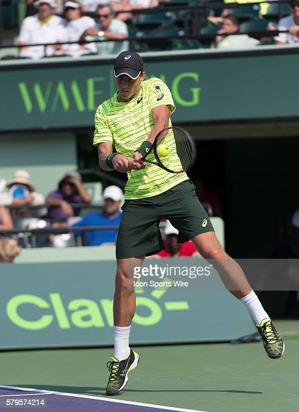 Key Biscayne FL Vasek Pospisil defeats Juan Martin Del Potro to move into the 2nd round of the 2015 Miami Open in Key Biscayne Florida