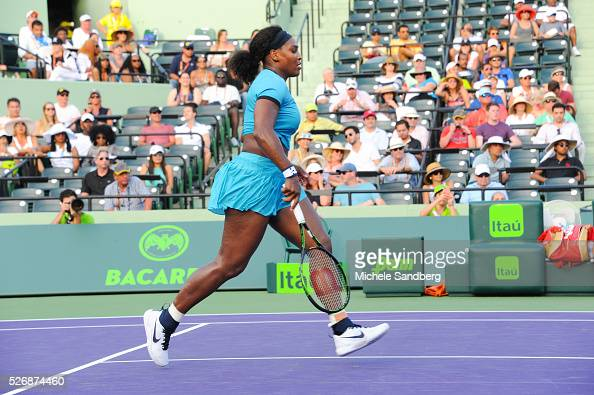 March 26 2016 KEY BISCAYNE FL Serena Williams plays a match against Zarina Diyas of Kazakhstan during the Miami Open Presented by Itau at Crandon...