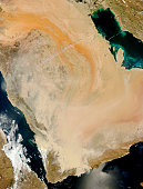 March 27, 2011 - Satellite view of a dust storm in Saudi Arabia.