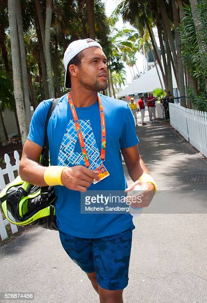 JoWilfried Tsonga of France walks to the tennis court at the Miami Open Presented by Itau at Crandon Park Tennis Center on March 27 2016 in Key...