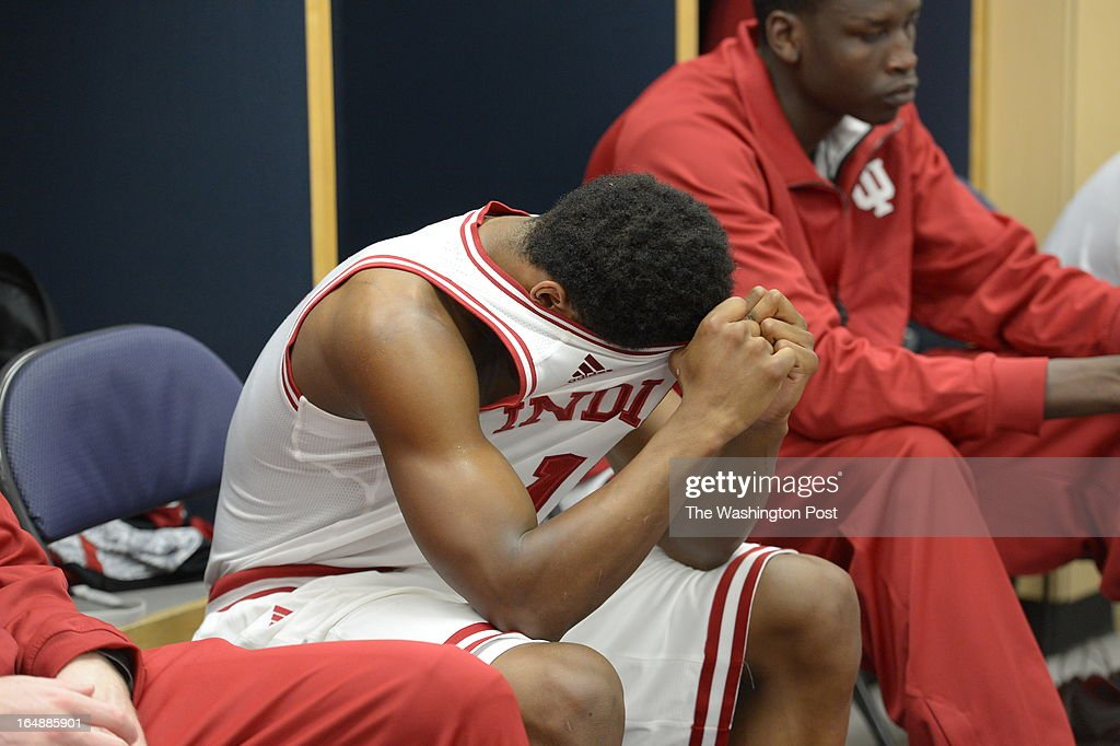 Indiana Hoosiers guard Yogi Ferrell (11) in the locker room after the Hoosiers lost to Syracuse 61-50 in game 2 of the NCAA east regional on March 28, 2013 in Washington, DC
