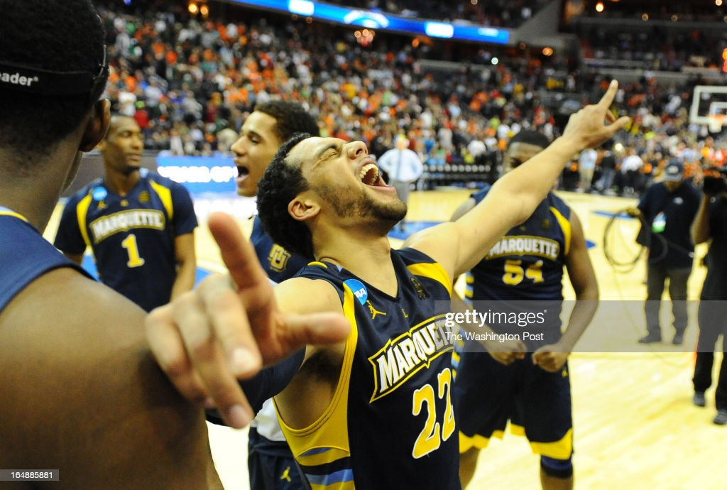 Marquette guard Trent Lockett (22) celebrates following his team's victory over the Miami Hurricanes in game 1 of the NCAA east regional on March 28, 2013 in Washington, DC