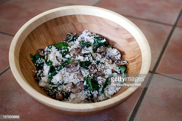 April Nourish recipe Basamati Rice Pilaf with Spinach and Mushrooms photographed on March 29 2011 in Vienna VA Bowl from Sur La Table