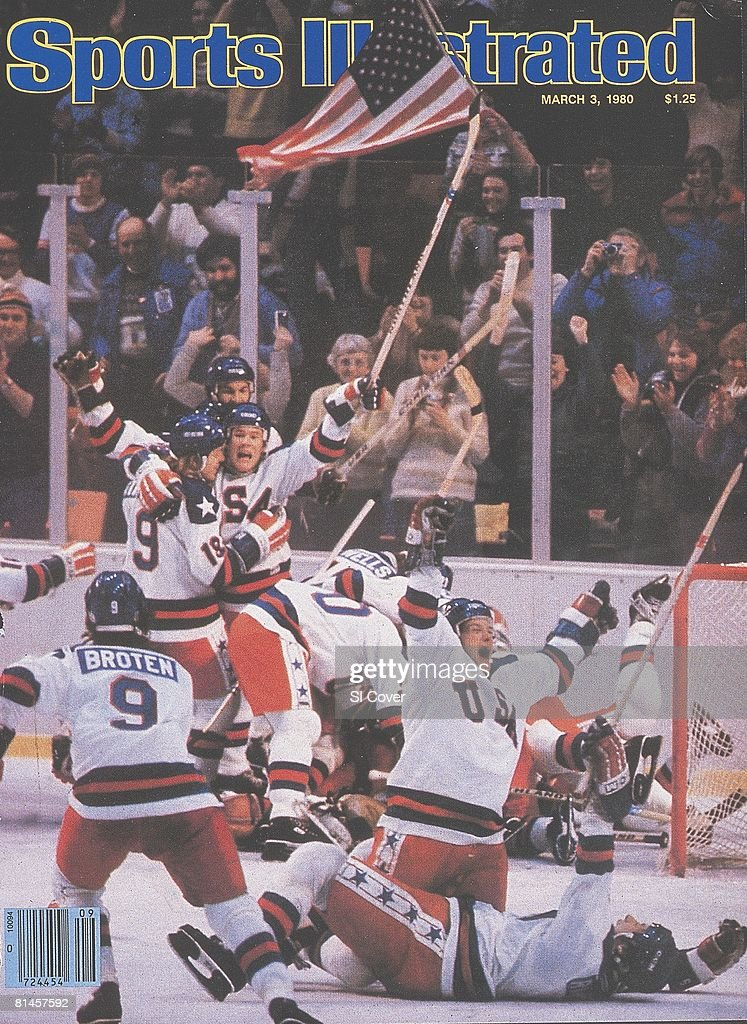 March 3 1980 Sports Illustrated Cover Hockey 1980 Winter Olympics Team USA victorious with flag after winning game vs USSR Lake Placid NY 2/22/1980
