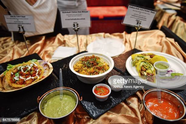 Photo taken on March 3 2017 shows various Indian cuisines at the Bangkok Gourmet Festival 2017 in Bangkok Thailand Renowned chefs from Asia Europe...