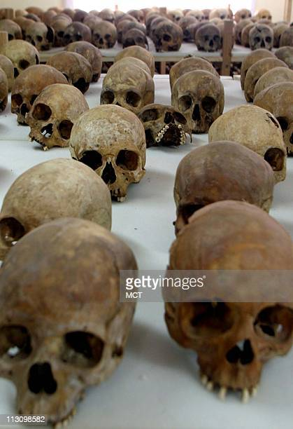 March 30 2004 The skulls of victims from the Rwandan genocide are temporarily housed at the Gisozi Genocide Memorial in Kigali Rwanda The bones will...