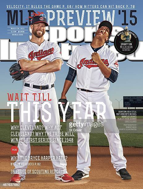 Baseball Season Preview Portrait of Cleveland Indians pitcher Corey Kluber and outfielder Michael Brantley during spring training photo shoot at...