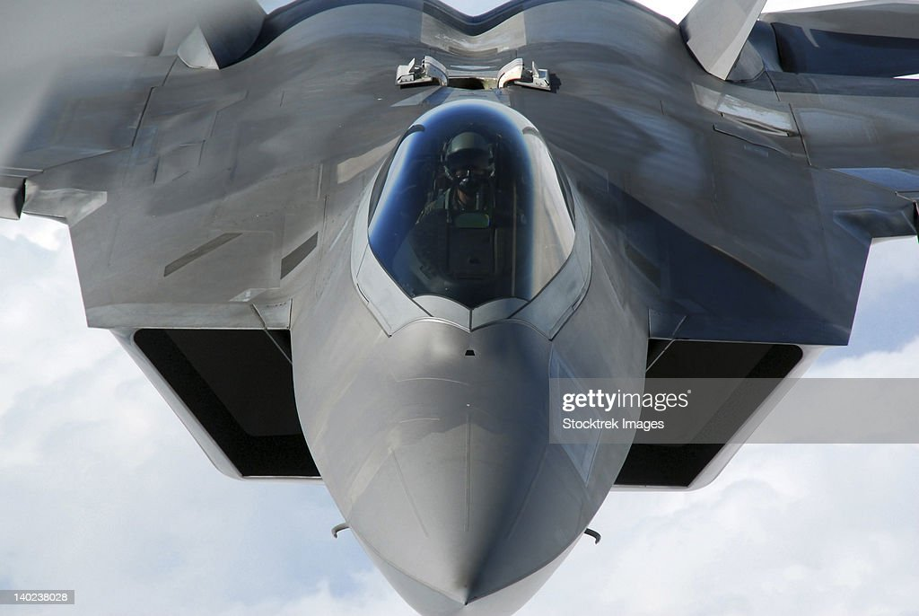 March 31, 2011 - An F-22 Raptor pilot lines up the aircraft to be refueled by a KC-135 Stratotanker.