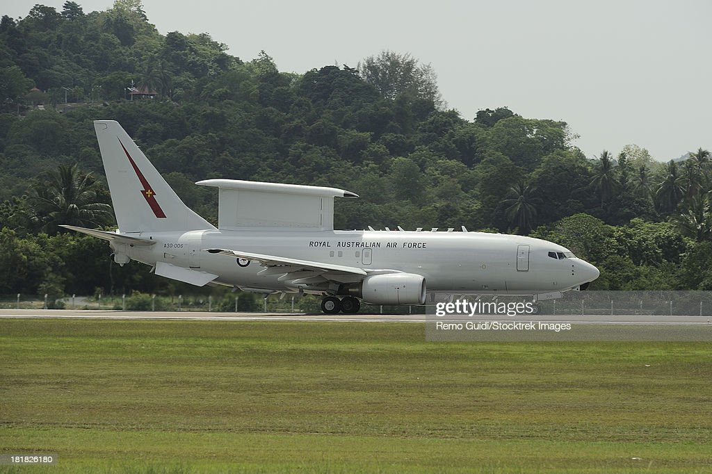 March 31, 2013 - A Boeing E-7A Wedgetail of the Royal Australian Air Force taxiing at Langkawi Airport, Malaysia.